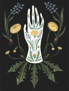 http://etsy.me/2ClbchH #etsy #art #print #giclee #dandelion #hyacinth #flowers #botanical #hand #glove