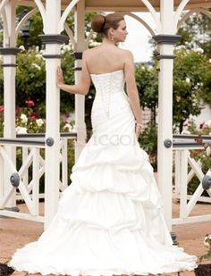 ❀ Mermaid Strapless Pleating Taffeta Wedding Dresses | Riccol ❤