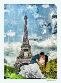 Wedding cópia da arte da lona Paris Decor impressão da arte do poster vintage obra de arte de mídia mista sobre tela tema verde azul em Eiffel