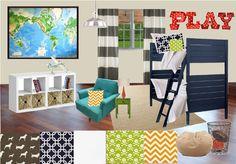 design board for boys room. Love the colors