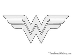 Wonder woman logo template cut out coloring page holidayparty wonder woman symbol stencil pronofoot35fo Image collections