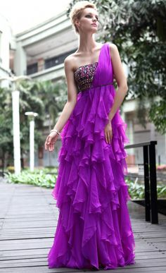 Chiffon A line Sweep/ Brush Train One Shoulder Empire with #Ruffles #Evening Dress