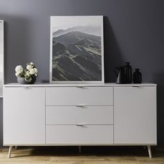 Wilcox wooden sideboard in white and sonoma oak with 2 doors and 3 drawers, will create a stylish and unique focal point in your living or dining room - 34821 dining room sideboard, modern & contemporary. In wood oak, grey, white high gloss with led. Dining Room Sideboard, White Sideboard, Wood Sideboard, Modern Sideboard, Credenza, Side Board, Furniture Catalog, Door Furniture, Living Room Cupboards