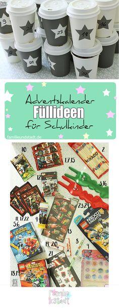 DIY Adventskalender basteln für Kinder mit Füllideen für Jungen und Schulkinder, coffee to go Becher Adventskalender füllen, Ninjago