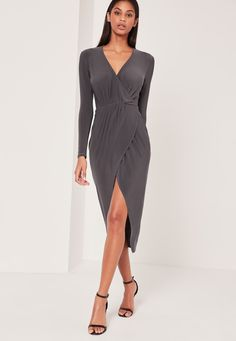 wrap yourself in total luxury this season! this wrap front maxi dress is the perfect new addition to your party wardrobe.