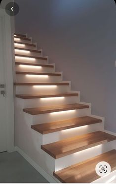 Concrete Staircase, Wooden Stairs, Modern Staircase, Metal Stairs, Spiral Staircases, Painted Stairs, Interior Wall Lights, Interior Stairs, Glass Wall Design