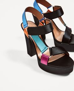 40b7dd36b68f Image 3 of MULTICOLOURED SATIN PLATFORM SANDALS from Zara Platform Shoes