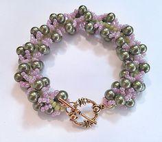 Olive Green Spiral Rope Bracelet - Olive Green and Pink Beadwork Bracelet - Seed Bead Patterned Bracelet