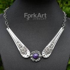 Silverware necklace with an amethyst bead by ForkArtJewelry, $80.00