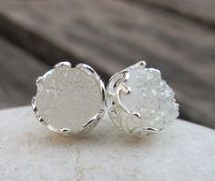 White Druzy Earrings Stud Drusy Earrings Druzy Agate by Belesas, $32.99 = ₱1,548.83 PHP