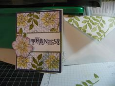 Stampin Up Secret Garden... CS Elegant Eggplant,Always Artichoke, Whisper White...Ink...So Saffron,Elegant Eggplant and Always Artichoke..Basic Pearls and And Argyle Emboss Folder