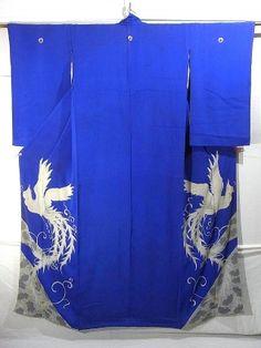 Beautiful White Phoenix Pattern Vintage Irotomesode