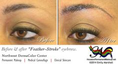 """My before and after this week shows an example of our """"Feather-Stroke"""" permanent makeup eyebrow procedure. As you can see, it even made her lashes stand out more!"""