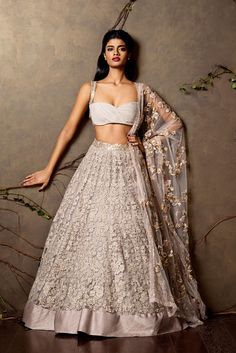 Go romantic with this thread work lehenga at www.shyamalbhumika.com To order, email us this image at sales@shyamalbhumika.com