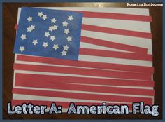 A is for American Flag {Alphabet Activities at RoamingRosie.com}