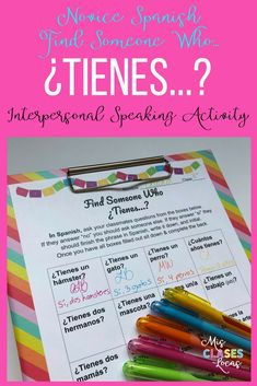 This great FREE communicative activity gets novice Spanish students talking in Spanish. It focuses on tengo, tienes & tiene and also informally incorporates pets, family, age and classes. It would be great as a back to school get to know you activity. Spanish Teacher, Spanish Classroom, Teaching Spanish, Bilingual Classroom, Bilingual Education, Spanish Phrases, Spanish 1, Spanish Lessons, Middle School Spanish