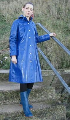 Blue PVC Raincoat and matchingboots Women wearing Rukka raincoats Finland