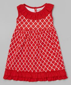 Look at this Red Quatrefoil Ruffle Dress - Infant, Toddler & Girls on #zulily today!