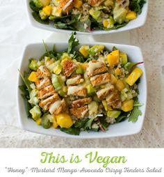 Entree Salad Bowl: Mango-Avocado Brown Rice Gardein Crispy Tenders #vegan #giveaway