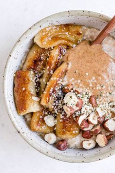 Steel cut oats with maple fried bananas