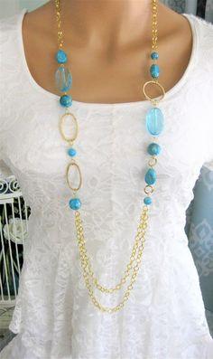Blue Multi Strand Beaded Necklaces, Multi Strand Necklace, Long Chunky Necklace, Beaded Necklaces, Long Beaded Necklace, Bead Necklace, N906 by RalstonOriginals on Etsy