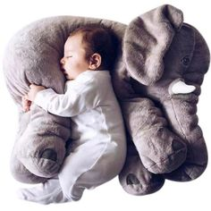 Giant Elephant Baby Pillow - This Giant Elephant Baby Pillow will make the perfect gift for baby showers or birthday parties. The plush pillow is super soft and made with 100% cotton material. Babies are very likely to fall asleep soundly on this one of a kinda animal pillow. Comes in sizes 40cm and 60cm. There are 5 colors available; gray, blue, yellow, coral & purple.