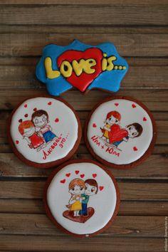 """Купить Пряничная открытка """"Love is..."""" - бирюзовый, пряник, пряники, подарок…"""