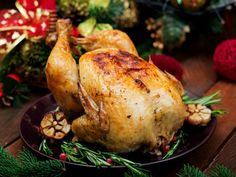 Buy Baked turkey or chicken by Timolina on PhotoDune. Baked turkey or chicken. The Christmas table is served with a turkey, decorated with bright tinsel and candles. Baked Turkey, Baked Chicken, Fries, Roast, Thanksgiving, Nutrition, Homemade, Meals, Dishes