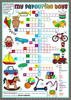 My favourite toys - crossword Language: English Grade/level: elementary School subject: English as a Second Language (ESL) Main content: Toys Other contents: English Worksheets For Kids, English Activities, Reading Activities, Educational Activities, Kids Worksheets, Vocabulary Worksheets, English Vocabulary, Kids Crossword Puzzles, Toy Labels