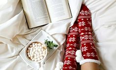 Little pleasures: Snuggling up in bed with a cup of chocolate and a book. What's on your winter reading list? #Enjoythelittlethings