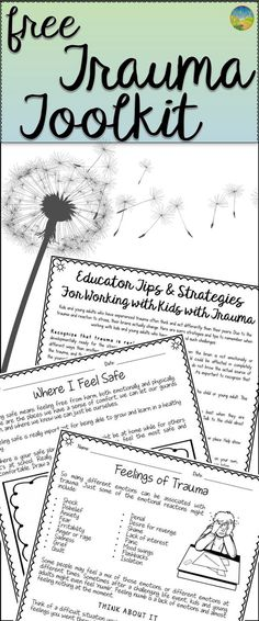 FREE Trauma worksheets and teacher handouts. Great counseling tool for kids with challenging backgrounds.