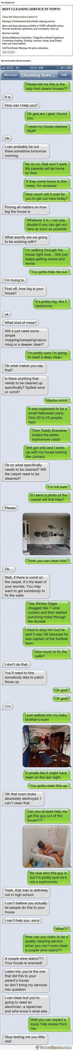 Best cleaning service after party, funny text message.