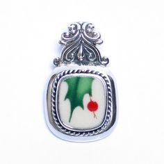 Broken China Jewelry Christmas Winter Holly Sterling Silver Pendant