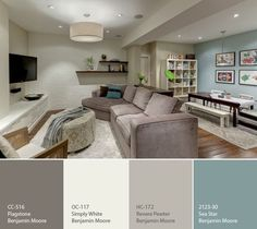 Benjamin Moore - Sea Star, Flagstone, Simply White and Revere Pewter- Calming colors for a lower level. http://paintersplaceblog.wordpress.com/2011/11/10/a-calming-palette-for-a-basement/