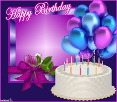 Happy Birthday (with white cake & blue & purple balloons, purple background)