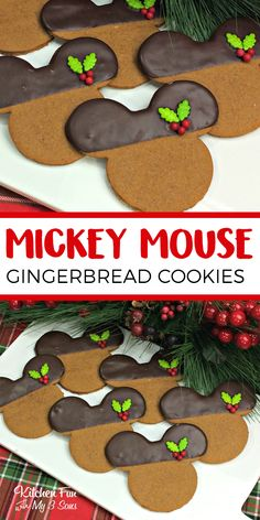 Fun Christmas Mickey Mouse Gingerbread Cookies for the holidays.