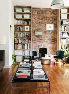 Usually the living room interior of the exposed brick wall is rustic, elegant, and casual. Exposed brick wall will affect the overall look of your house more appreciably. Sweet Home, Exposed Brick Walls, Exposed Brick Apartment, Decoration Inspiration, Decor Ideas, Beautiful Decoration, Home Libraries, Home And Deco, Home Fashion
