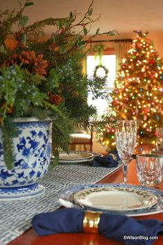 Blue and White Christmas Table Tablescape
