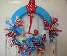 Dr. Seuss Cat in the Hat Ribbon Wreath for baby shower