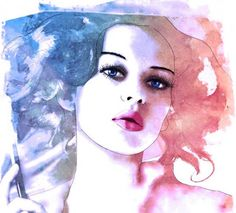 Watercolor Fashion Illustration by Esther Bayer Portrait Illustration, Illustration Sketches, Fashion Illustrations, Art Sketches, Illustrations Posters, Watercolor Mixing, Watercolor Art, Arte Fashion, Fashion Models