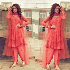 Sunbul Iqbal Look Pretty in this coral outfit, perfect for Eid this Summer. Pakistani Dresses Casual, Pakistani Dress Design, Indian Dresses, Indian Outfits, Stylish Dresses, Simple Dresses, Casual Dresses, Indian Designer Outfits, Designer Dresses