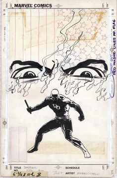 Original inked board for cover of Daredevil, issue 232, written by Frank Miller, illustrated by David Mazzuchelli, 1986.