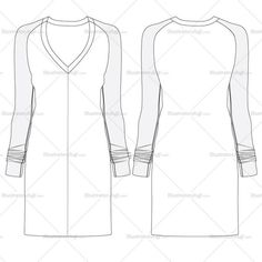 Fashion Flat Vector Template Women's V-neck sweater dress front and back flat sketch with detail stitch line. Easy to edit and use.