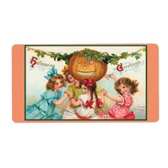 Vintage Halloween Pumpkin and Kids Dancing Label