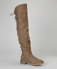 Taupe Lace-Up Olympia Boot by Nature Breeze #zulily #zulilyfinds