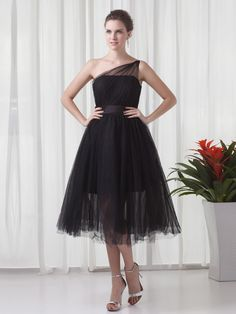 Black Tulle One Shoulder Tea Length Pleats A-line Homecoming Dress at nextdress.co.uk