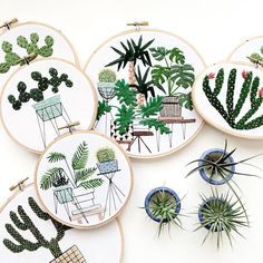 cacti wall art by Sarah K. Benning | home ideas | tapestry hoop