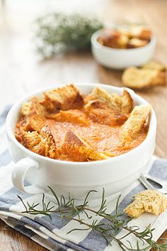 Roasted Garlic and Tomato Soup - this uses garbanzo beans as a thickener instead of cream. Love it.