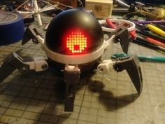 Asi (Anansi) Robot Companion - My desk - Arduino Programming, Programming Tutorial, Diy Electronics, Electronics Projects, Robo Arduino, Learn Robotics, Real Robots, I Robot, Black Spray Paint