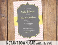 Instant download editable PDF Chevron Baby by JoyPribishDesigns, $12.00